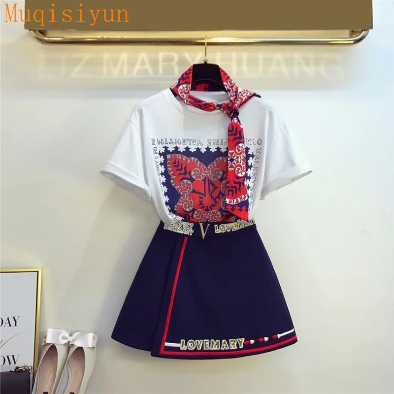 2021 Summer Women Europe Style Style Manichetti corti T-shirt + Gonna 2 Pz Set Fashion Femmina Abiti A1254