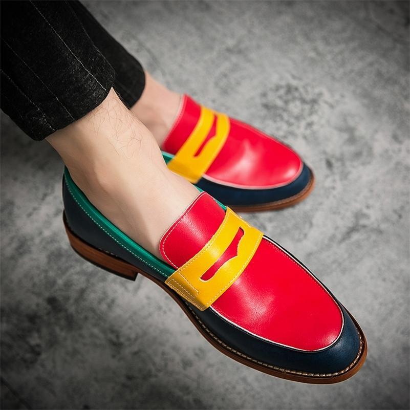 Erkek Elbise Ayakkabı Örgün Patchwork Deri Ayakkabı Moda El Yapımı Düğün Ayakkabı Erkekler Loafer'lar Oxford Ayakkabı Artı US 5.5-13.5 210316