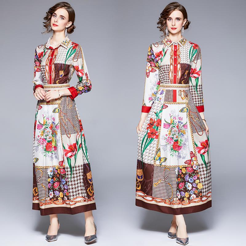 Womens Printed Long Dress 2021 Autumn New Maxi Dress High-end Temperament Lady Dresses Boutique Dresses