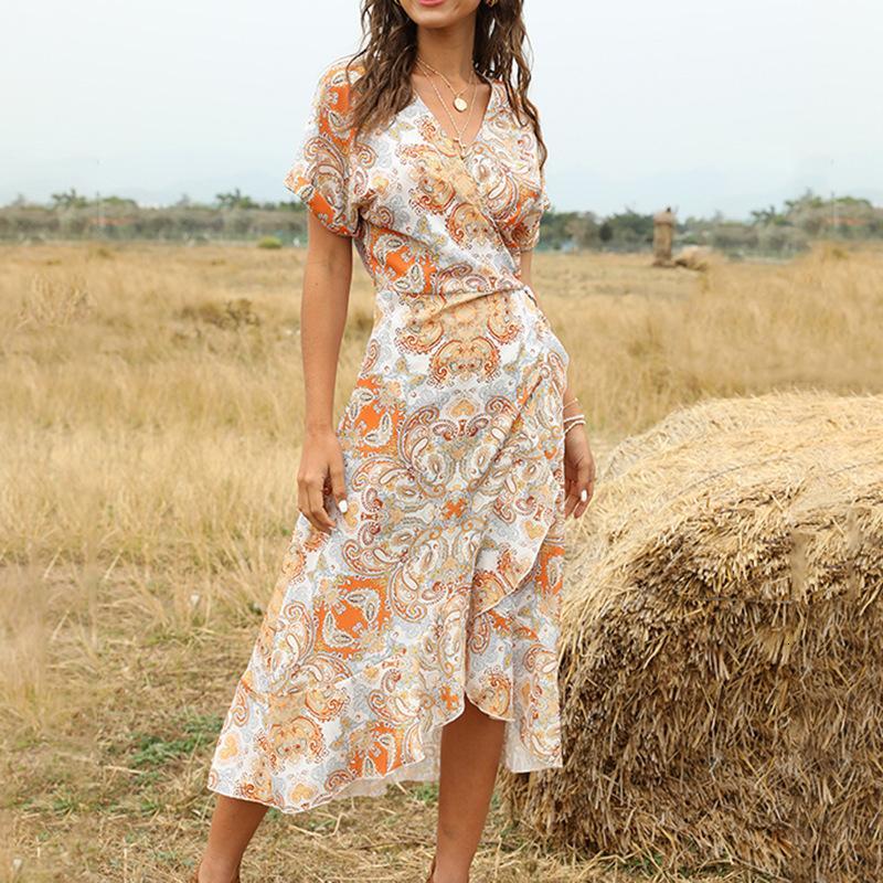 숙녀 중간 긴 여름 인쇄 여성 2021 새로운 캐주얼 러프 V-Neck Streetwear 짧은 꽃 C4nx