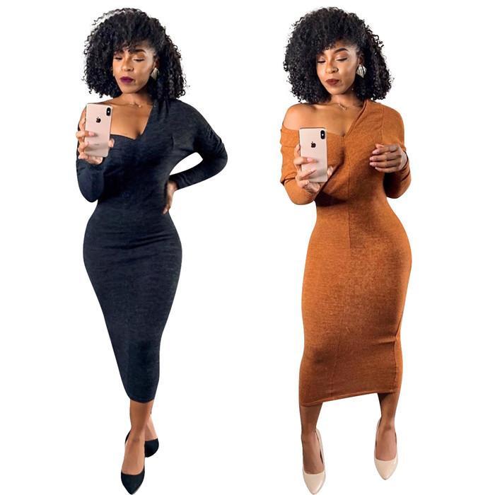 Сексуальные наклонные платья для плеч Женские сплошные цвета тонкие высокие талии платье осень мода повседневный с длинным рукавом женщин Bodycon одежда