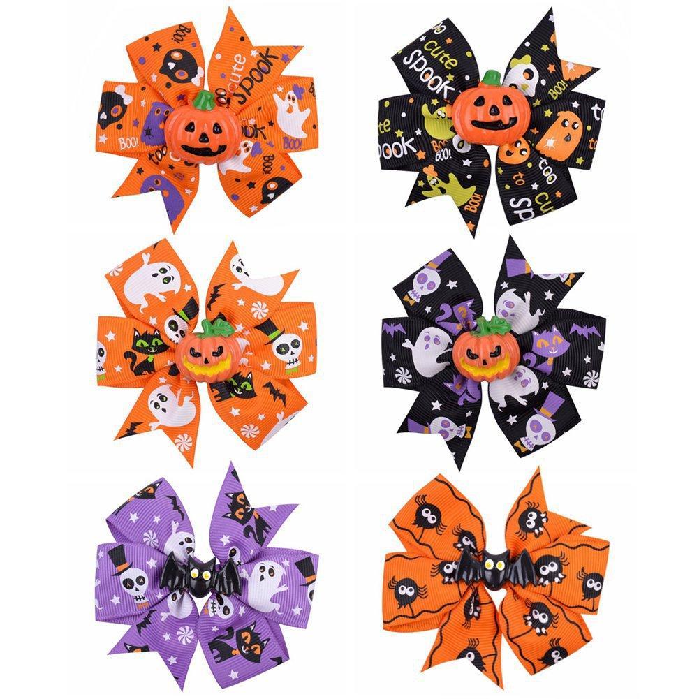 Baby Halloween Grosgrain Ribbon Arcos con Clip Girls Niños Fantasma Calabaza Pinwheel Pinwheel Clips Peluquería Accesorios de horquilla 4 estilos