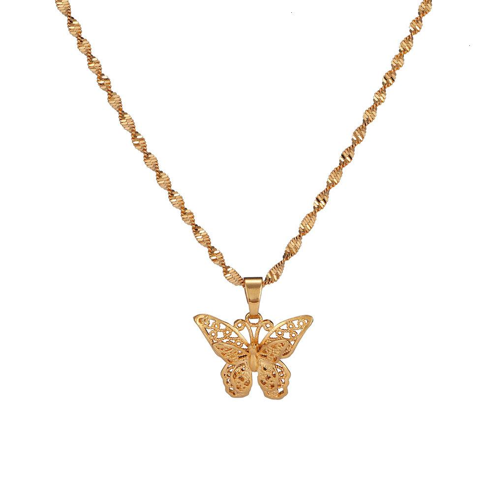 Butterfly Statement Necklaces Pendants Woman Chokers Collar Water Wave Chain Bib 24k Yellow Gold Filled Chunky Jewelry