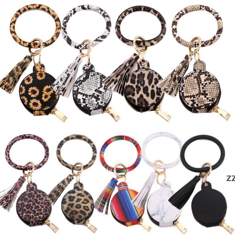 Kadınlar Kulakiçi Anahtarlık Bilezik Çanta Deri Bileklik Daire Anahtarlık Bileklik Kulaklık Püskül Mini Sikke Çanta Makyaj Aynası Ile HWF7412