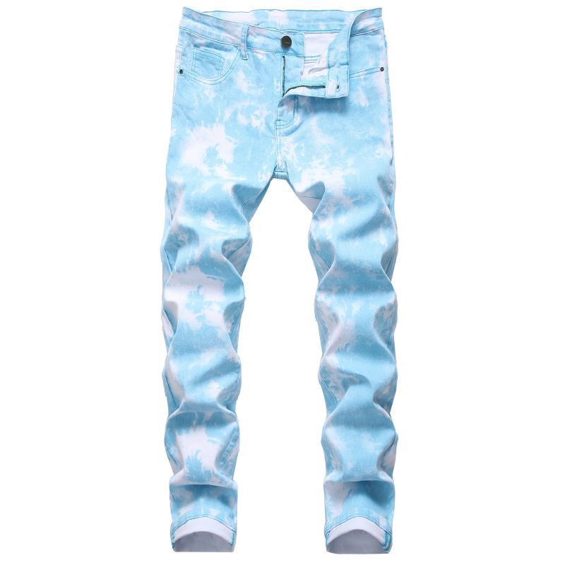 Хип-хоп джинсовые мужчины уличные мальчики носить цвет растяжения джинсовые джинсы случайные моды мужские узкие прямые ковбои брюки тонкие напечатанные длинные брюки