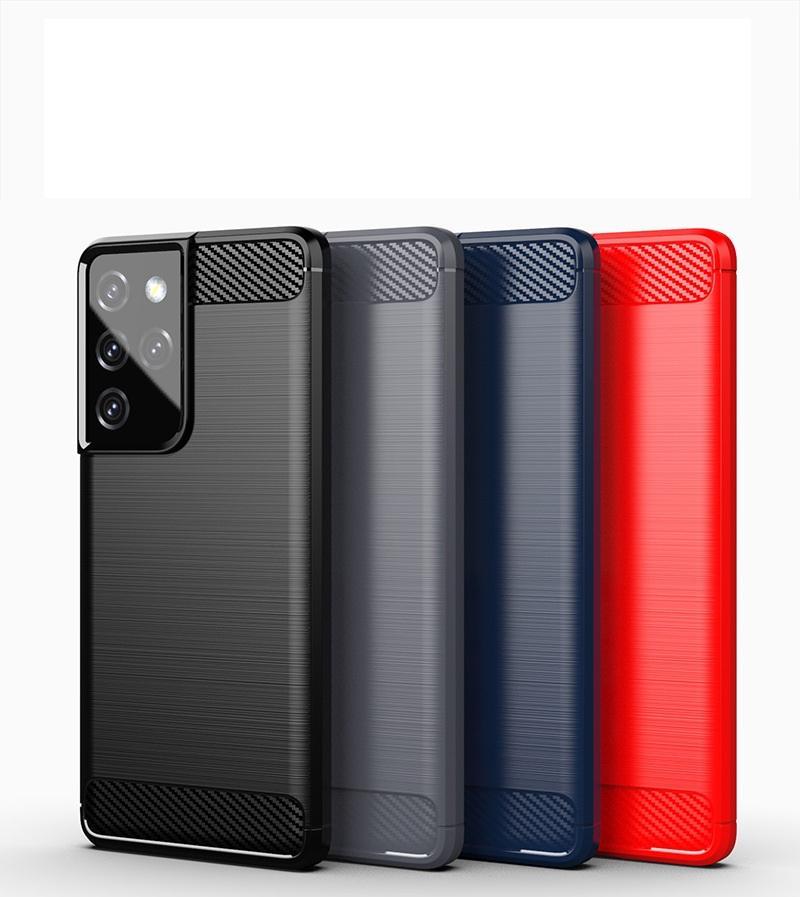 1,5 mm Kohlefaser Textur Slim Rüstung gebürstete TPU-Gehäuseabdeckung für Samsung Galaxy S21 S21 + S21 Ultra S30 Ultra 100pcs / lot
