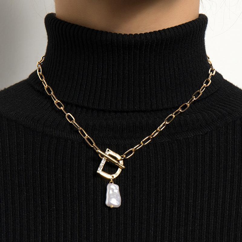 Старинные Жемчужные D Письмо Ожерелье Женщины Мода Простой Дизайн ОТ Пряжка Блокировка Барокко Жемчужина Choker Ожерелье Ювелирные Изделия
