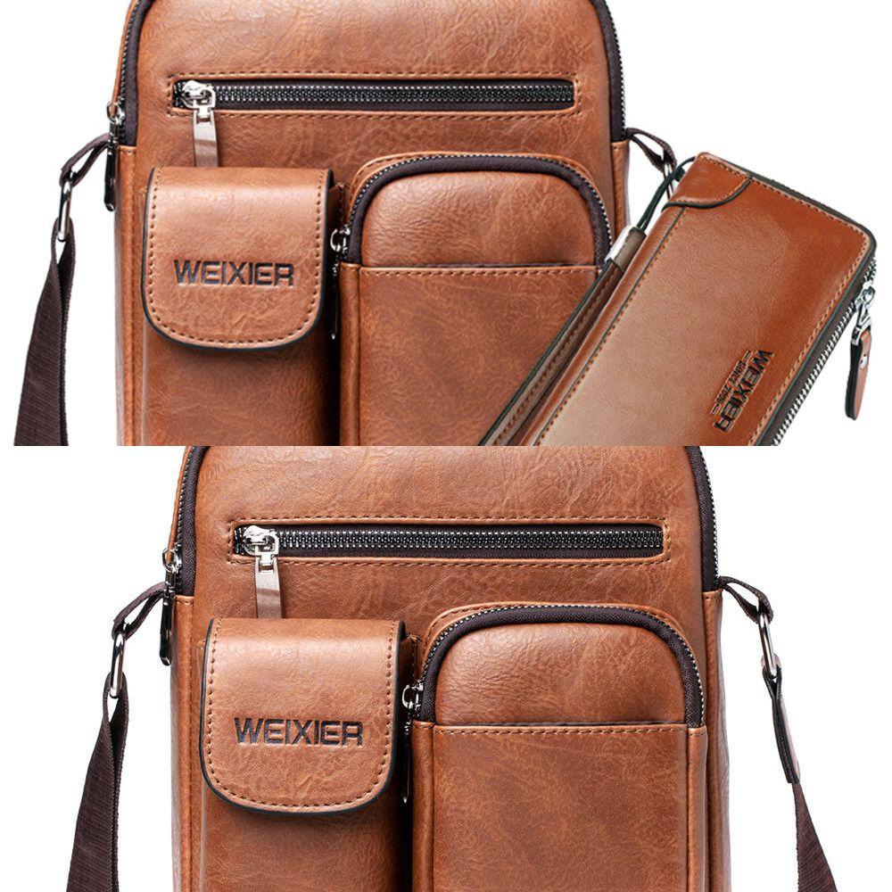 Fashion Men Shoulder Bag PU Leather Handbag for Man Large Capacity Male Crossbody Bags Business Zipper Man Messenger Bag Brown C0224