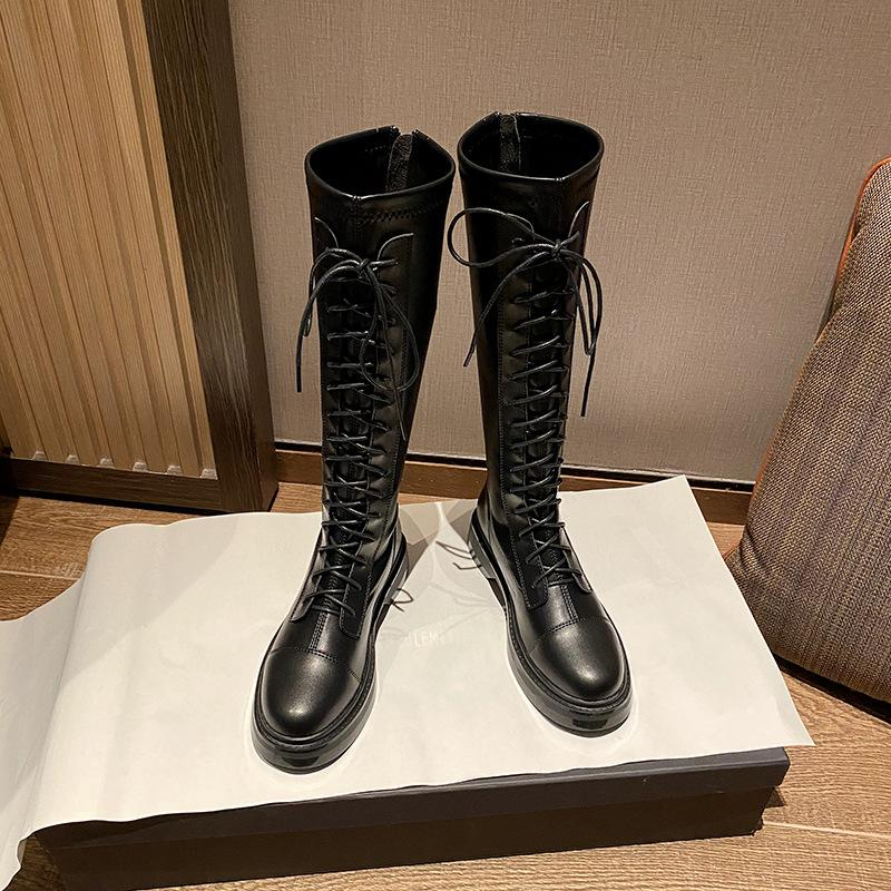 below the Knee Internet Celebrity Stretch Martin Boots Womens 2021 New Thick-Soled High-Top British Style Knight Skinny Boots Tide