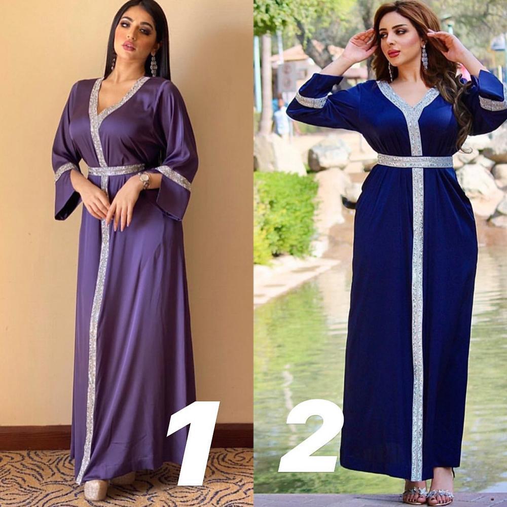 Elbise Arapça Abaya Kadınlar Için Moda Etnik Elmas V Boyun Uzun Kollu Maxi Elbiseler Türkiye Fas İslam Giyim 2021 36nf