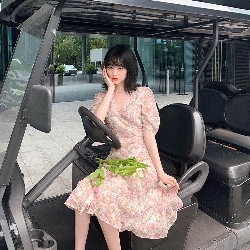 2021 summer new Korean V-neck floral dress long oil painting skirt for female students