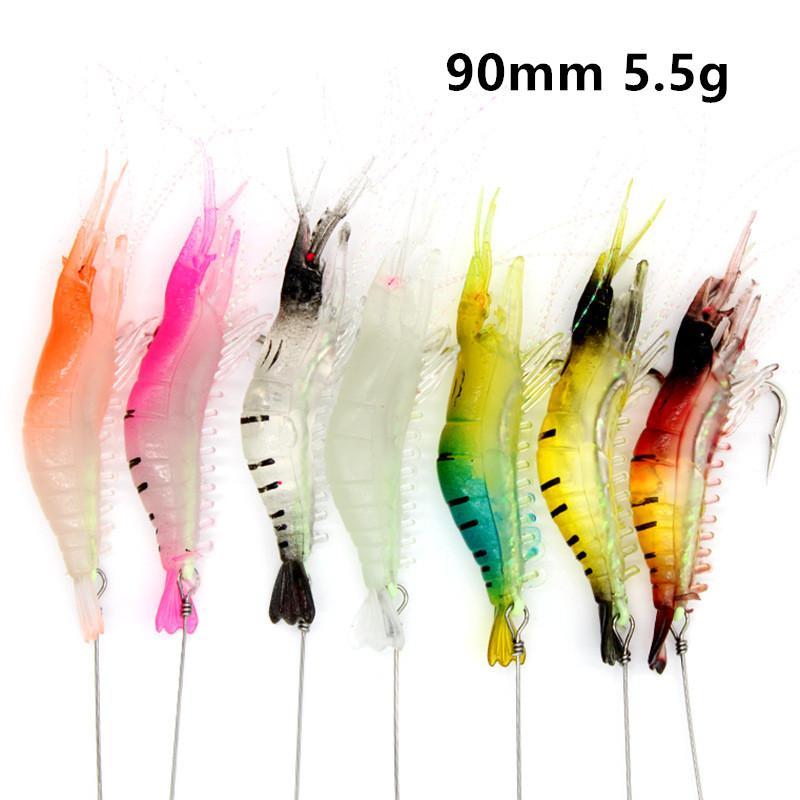 1 PZ 7 Colore 90 mm 5,5 g Gamberetti luminosi Beschi morbidi esche esche a gancio singolo Ganci da pesca Pesca Pesca Attrezzatura da pesca B86-308