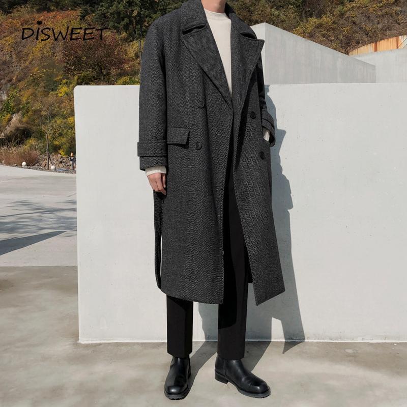 Мужская шерстяная смесь толстые твердые шерстяные пальто Мужчины Корейский с длинным рукавом Свободный пояс с двусловечностью Теплый тонкий зимний мальчик 2021