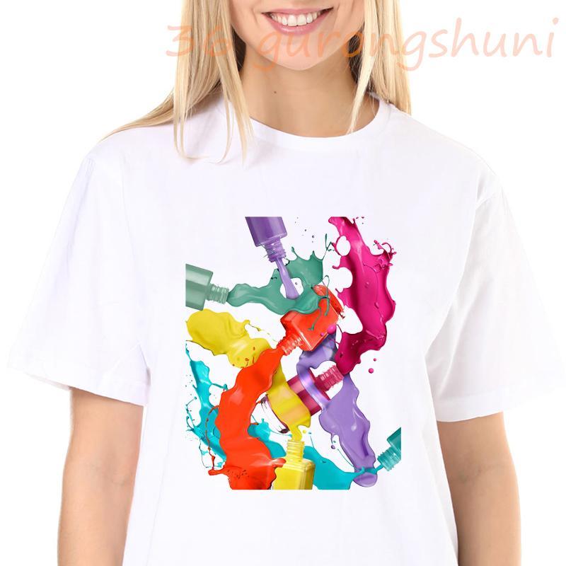 Yaz Kadın T Bayan Grafik 3D Parmak Tırnak Boya Renk Moda Sevimli Baskılı Üst Tişört Kadın Tee Gömlek Bayanlar Giysileri T-shirt C0305