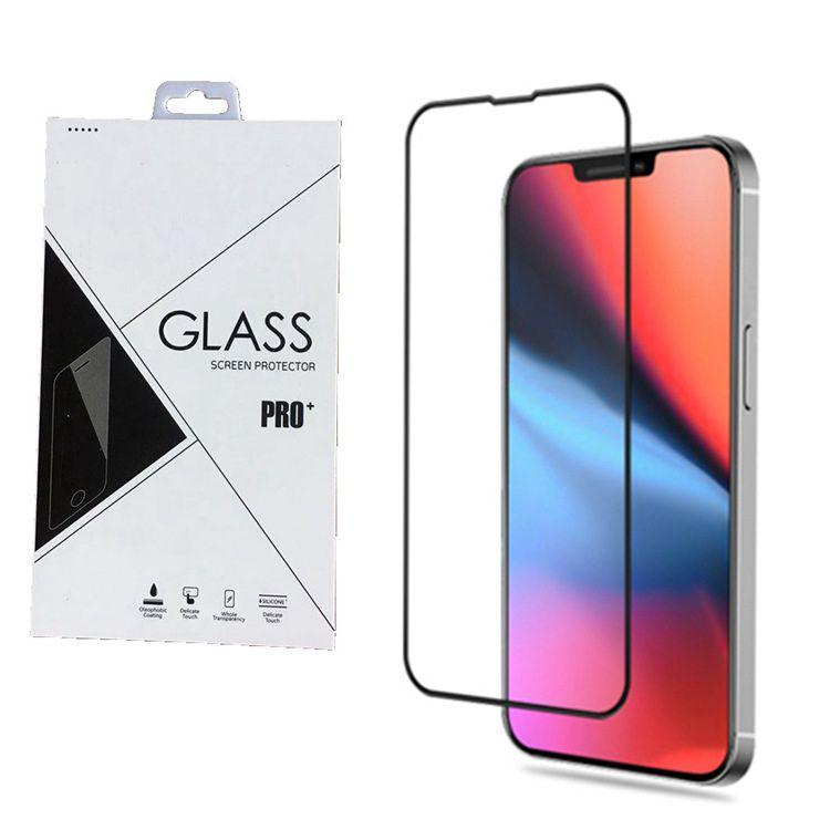 9H Full Cover Tempered Glass Screen Protector AB Lim för iPhone 13 12 Pro Max 100PCS / Lot Retail Package