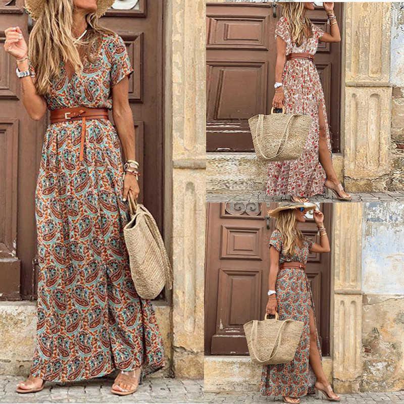 CH Crosin H / Greatori / Dress Beach Resort Beach Stampa Bohemian Skirt