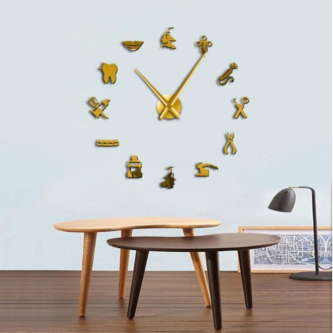 DIY3D стоматологическое акриловое зеркало зеркала настенные часы европейские стиль настенные часы серебряное золото черный DIY диаметр 70 ~ 120см