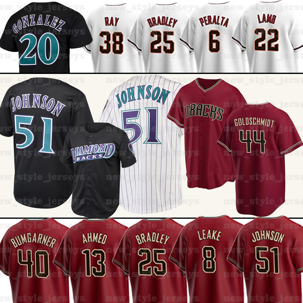 51 Randy Johnson Archie Bradley Jake Lamb Josh Vanmeter Z2 David Peralta Pavin Smith Josh Vanmeter David Peralta Jerseys Maillots de baseball