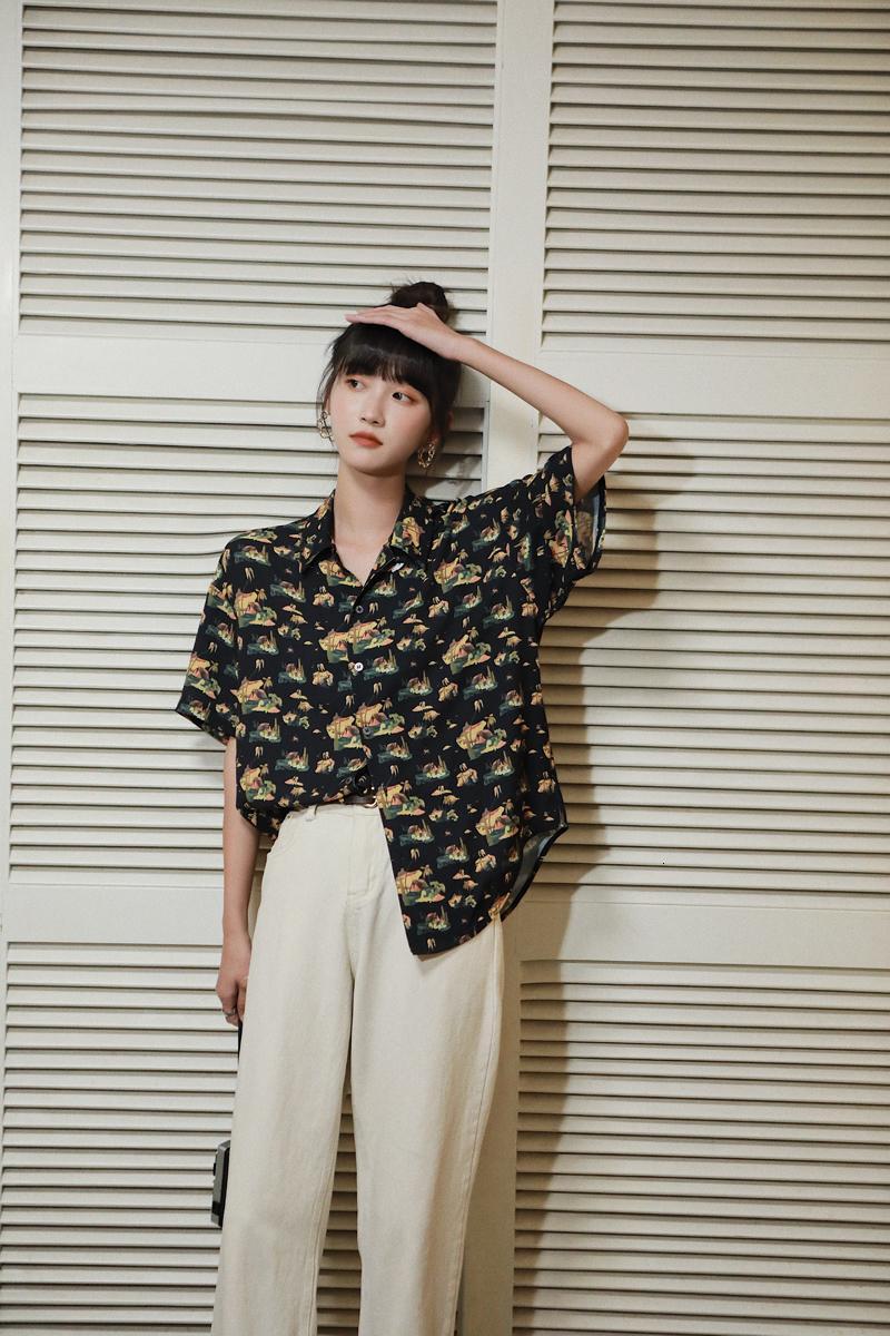 2021 новый старинный черный печать с короткими рукавами женские летние и блузки японские свободные верхние кнопки рубашки WOLLED I1CL
