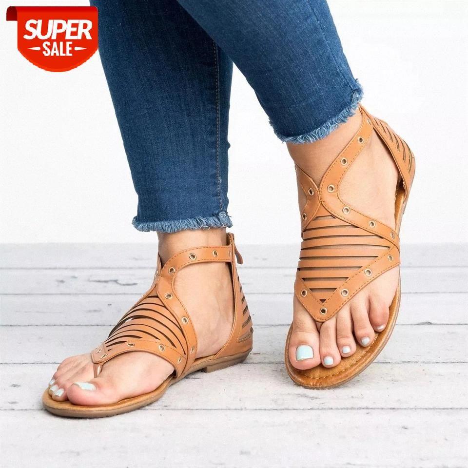 Женские кожаные сандалии сандалии плоские подошвы повседневные мягкие мягкие большие пальцы ноги rome стиль летняя пляжная обувь для женских полых сандалий 2019 # AS3R