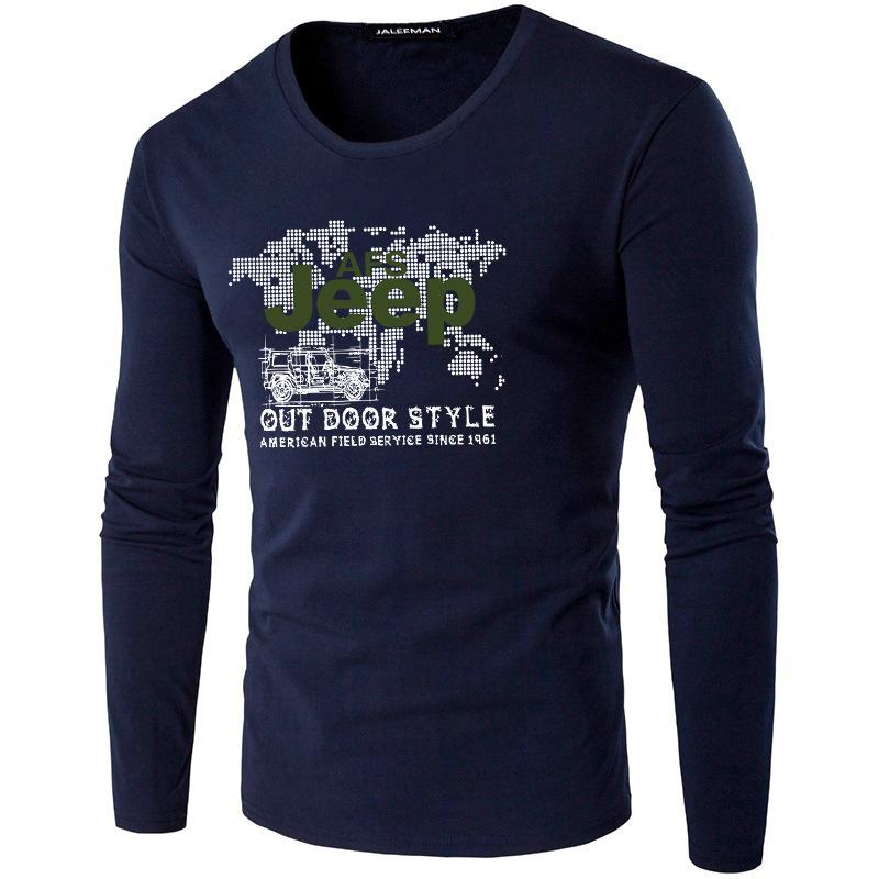 T-shirt extérieur de printemps et d'automne T-shirt extérieur Sports Homme rond coton à manches longues surdimensionnée