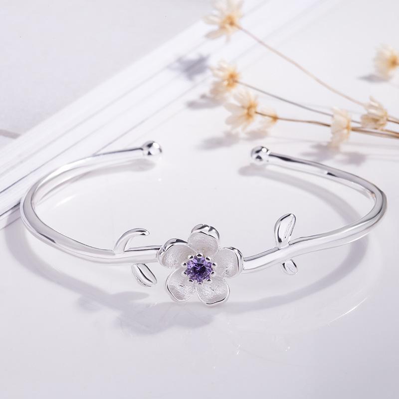 Bangle Fashion Feach Blossom Цветочный браслет элегантный цветочные классические женские ювелирные изделия