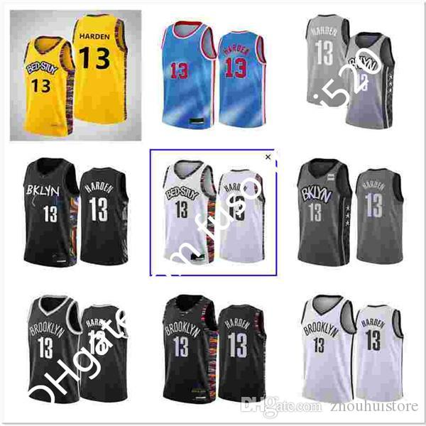 Nuevo Llegada Hombres Baloncesto 13 James Harden Jerseys 11 Kyrie Irving 7 Kevin Durant 8 Jeff Green City Ganed Classic Edition Black Blue Shirts