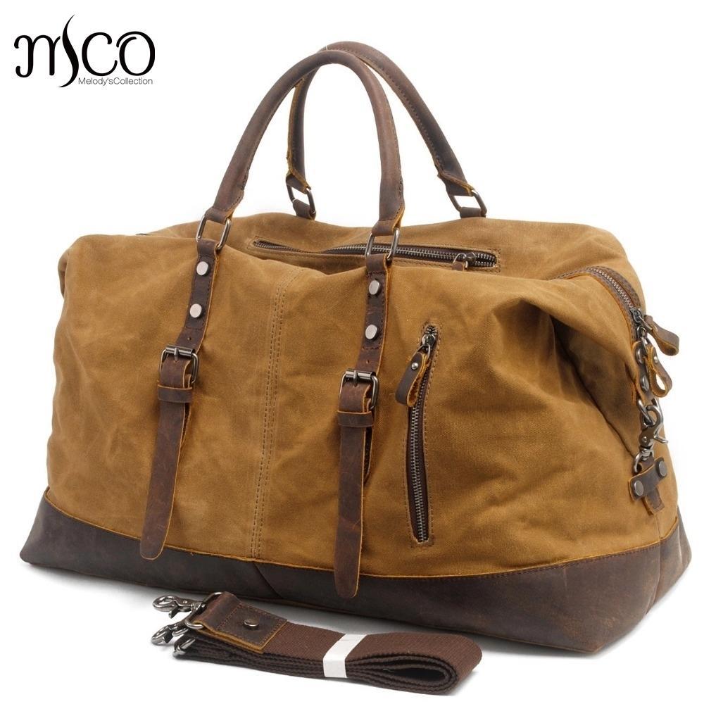 MCO Vintage lienzo de lona de lona de viaje con lona lona de gran capacidad de cuero engrasado, bolsa de fin de semana, bolsa de fin de semana básico, bolsas, bolsas durante la noche 210304