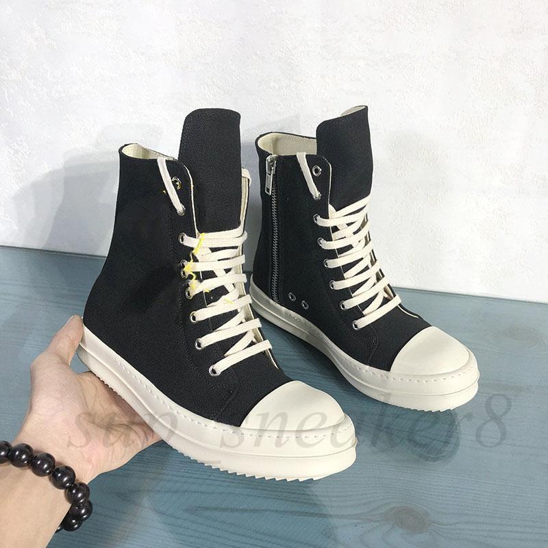 Botas de lona para hombres transpirables Alto Top Zapatillas de moda masculinas Black Lace Up Mens Shoes Tamaño de arranque 38-46