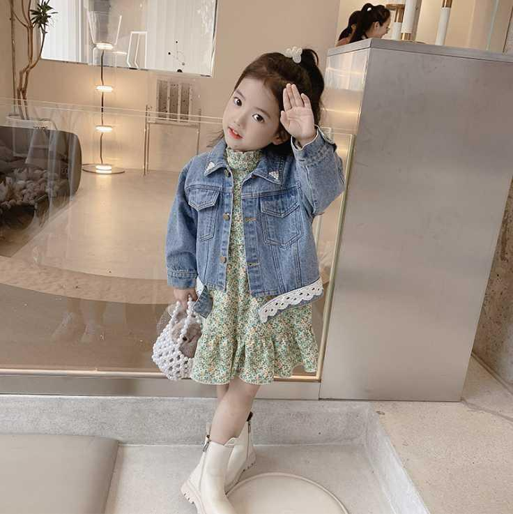 Jackets 2021 Wholesale Girls Boys Denim Coat Autumn Cotton Kids Jacket 2-7 Years WU84