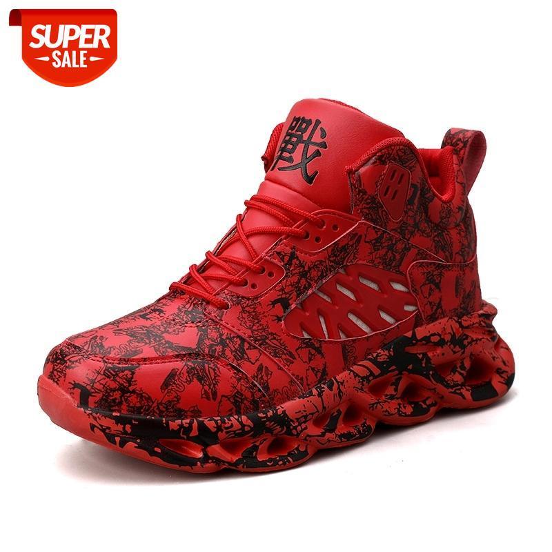 Chaussures de basketball masculins de camouflage haut de haut en haut de camouflage adolescents anti-usure Bottes de combat à usage de sport chaussures de sport Mens baskets taille 39 - 45 # 2I8A