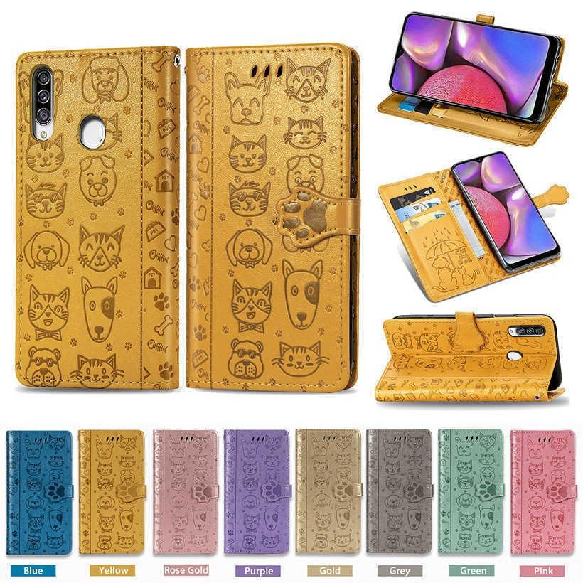 Cute Cat Dog Print Leather Case For Samsung Galaxy A30 A40 A50 A70 A20S A30S A50S A70S A01 A11 A41 A51 A71 A21 Stand Flip Cover