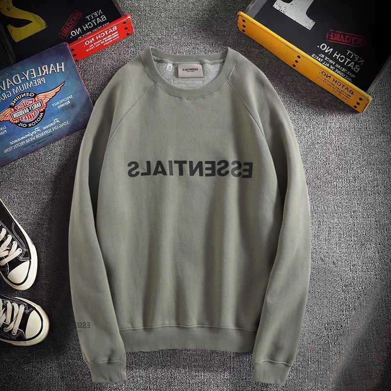 Nebel Essentials doppelte Linie Pullover-Strickjacke Männer und Frauen derselben Rundhalsausschnitt mit Down-Schulter Lose High Street Mode-Marke