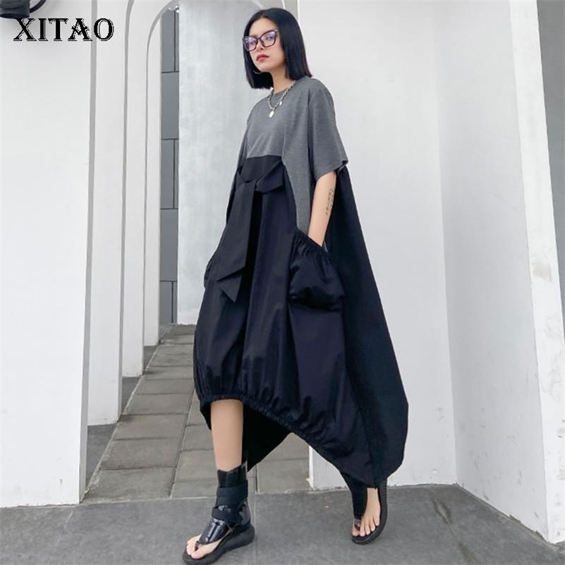Xitao irregolare pieghettato vestito a colori di colore plus size rivestimento allentato coprente bottly pullover manica corta elegante vestito estate 210303