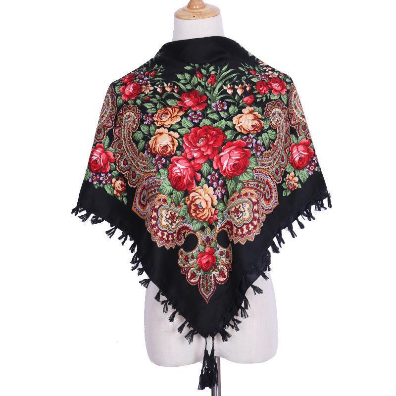 Lenços Rússia scarf quadrado para mulheres outono inverno xaile retro Floral de impressão artesanal borla flor de tassel blankerchief 90 cm
