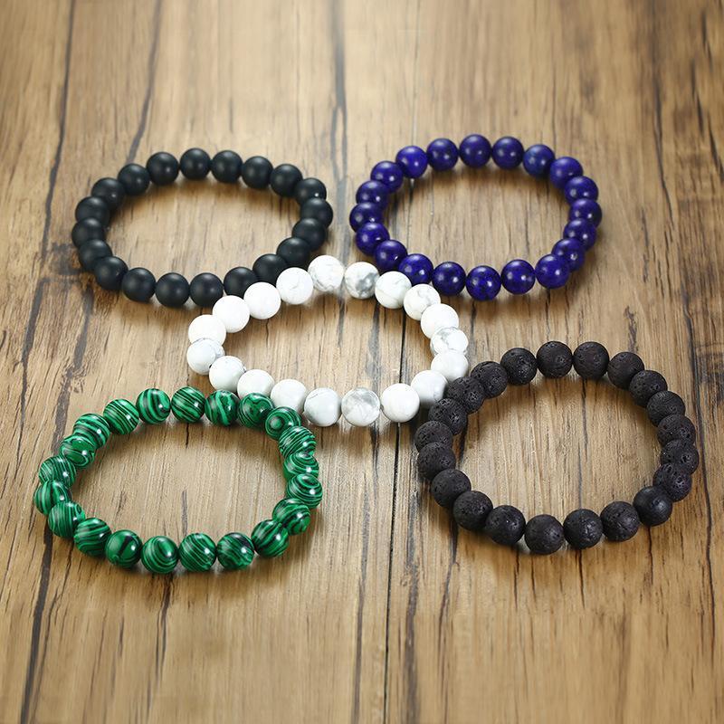 Бисероплетенные, пряди мужские браслеты черные натуральные каменные бусы оптом из нержавеющей стали браслет упругие веревки очарование хип-хоп мужские аксессуары