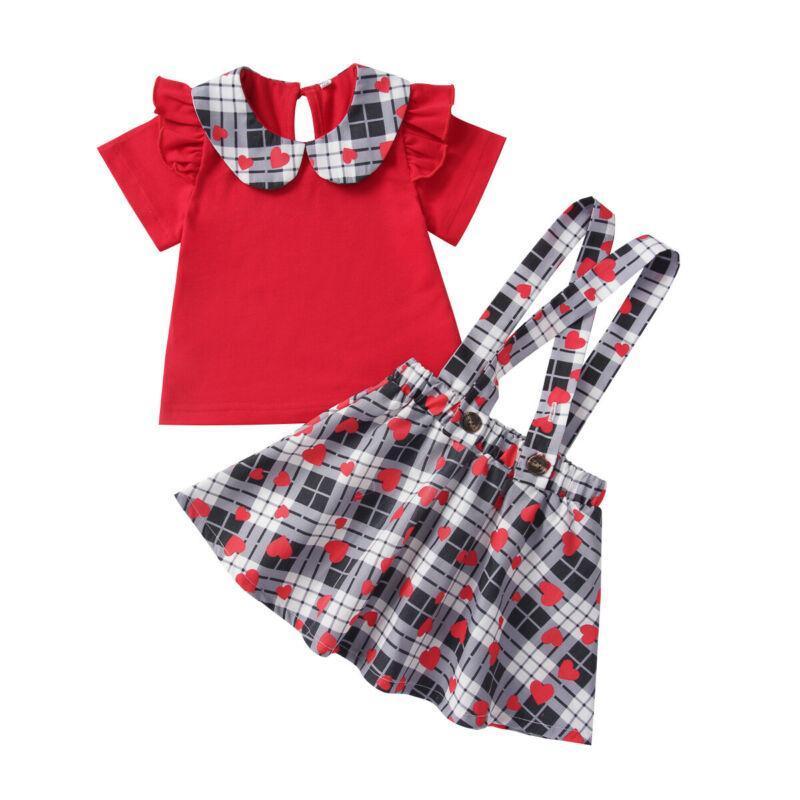 Сладкий день Святого Валентина набор малыша девочка плед сердца напечатано с короткими рукавами футболка подвеска юбка 2шт наряды 1-5 лет