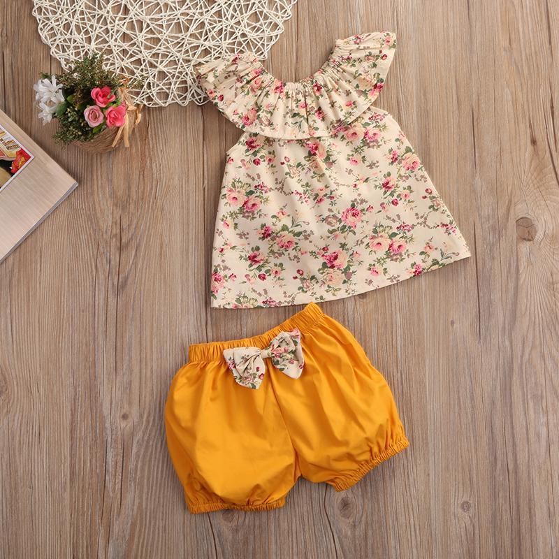 Sommer 2 stücke Set Baby Kleidung Set Mädchen Kurzarm Blumendops + Shorts Hosen Mädchen Kleidung Outfits