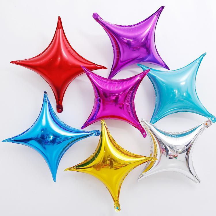 10 inç Dört Sivri Yıldız Alüminyum Folyo Balon Karikatür Doğum Günü Partisi Şarap Cam Dekorasyon Balonlar Düğün Malzemeleri Noel LLS515