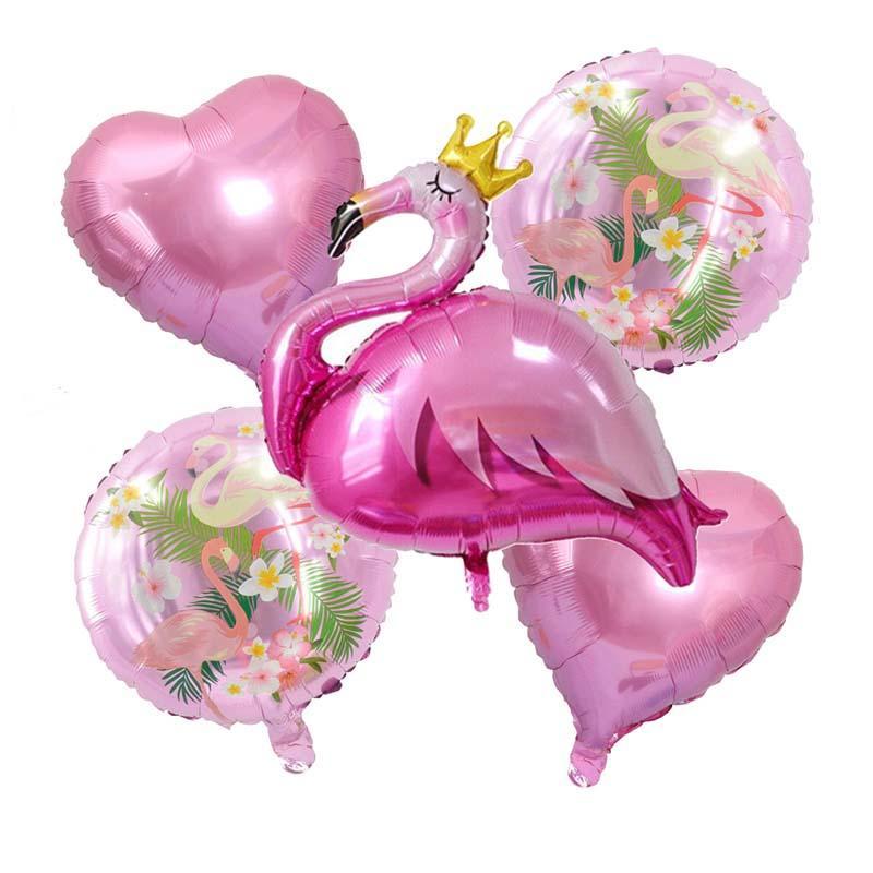 5pcs 플라밍고 풍선 세트 블루 핑크 라운드 하트 호 일 풍선 하와이 장식 풍선 baloon 결혼 생일 파티 용품