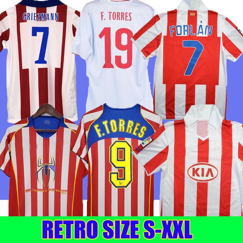 Retro 2004 2005 2014 2015 Atlético Madrid Jerseys Kun Agüero Grisezmann Maxi F.Torres 04 05 10 11 14 15 94 95 Gabi Forlán Casa Vintage Camisa de Futebol Clássico Uniforme