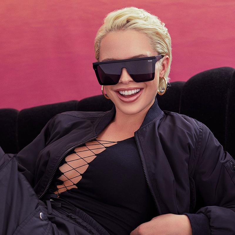 Sonnenbrillen Übergroße Frauen flach top Kai Quadratische Sonnenbrille für weibliche Vintage Spiegel Damen Shades UV400