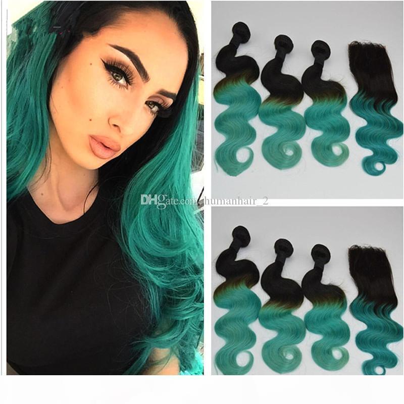 Cheveux de deux tons 1b Ombre Green Ombre Vague Brésilienne Vierge Cheveux avec fermeture en dentelle Ombre 1B Fermeture verte Ferce de cheveux humains indiens