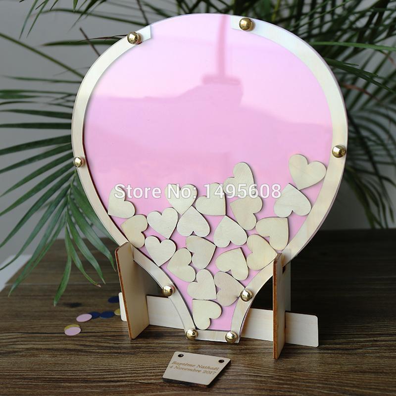 Party Decoration Wedding Guest Book Alternative, Balloon Drop Box Book, Wooden Birthday, Christening Baby S