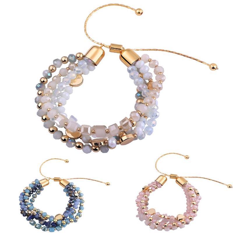 Perlen, Stränge einstellbar Frauen Stein Kristallarmband mit blauem Glas und Perlenmetall Spacer für Liebhaber Freund Geschenk