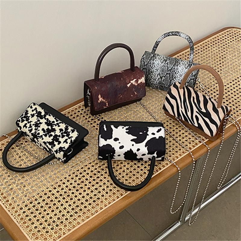 Cow Zebra Pattern Square Women's Handbag Serpentine Chain Crossbody Bags for Women 2021 Animal Print Top-Handle Shoulder Bag New C0308