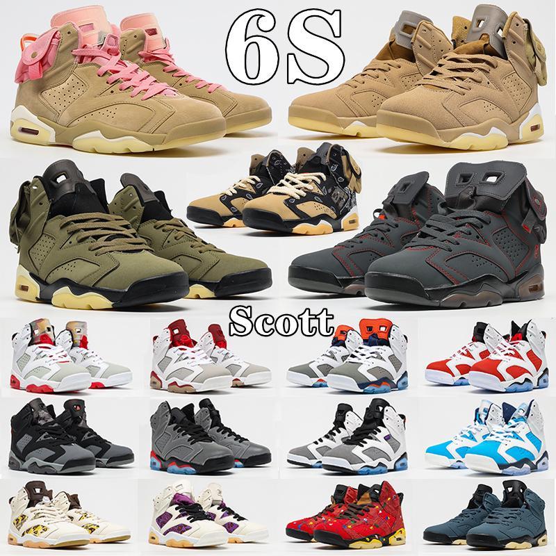 Travis Scott X Air Jordan 6 Retro JUMPMAN 6s Mens man Basketball Shoes UNC Travis 6s VI high Gold Hoops British Khaki Carmine Black Infrared Tech Chrome Electric Green DMP Sneakers