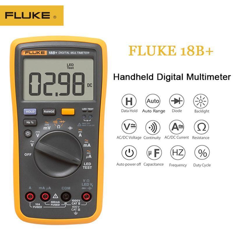 Multimeters Fluke 100٪ الأصلي 18B + LED AC / DC الجهد الحالي متعدد الوسائط الرقمية ومحول AC المشبك متر