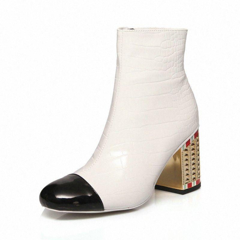 2019 kadın çizmeler moda fermuar ayak bileği çizmeler kadın hakiki deri kare topuk kısa bayanlar yuvarlak ayak sonbahar kış ayakkabı çizmeler ayakkabı f2yy #