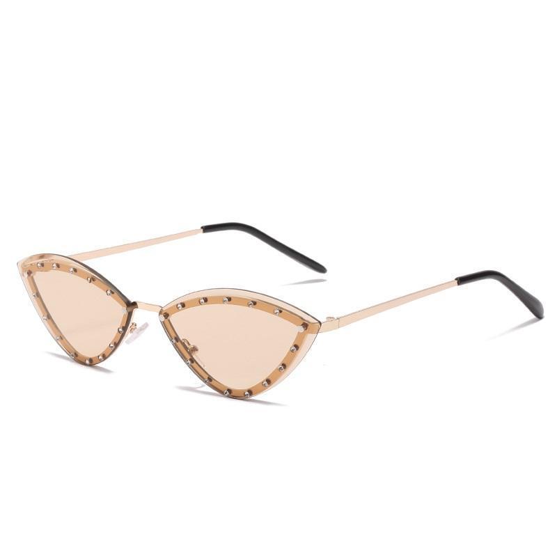 Sonnenbrille Katze Eye Shades Gläser Vintage Randlose Luxus Designer Gafas Männer Frauen Brillen Trendy Oculos Lunette Sonne